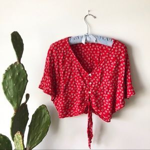Patrons of Peace Button Down Crop Top With Tie